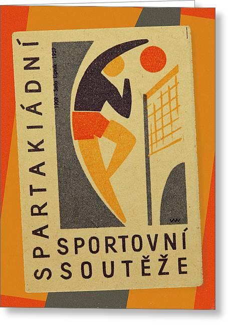 Czech Matchbox Label Volleyball Greeting Card