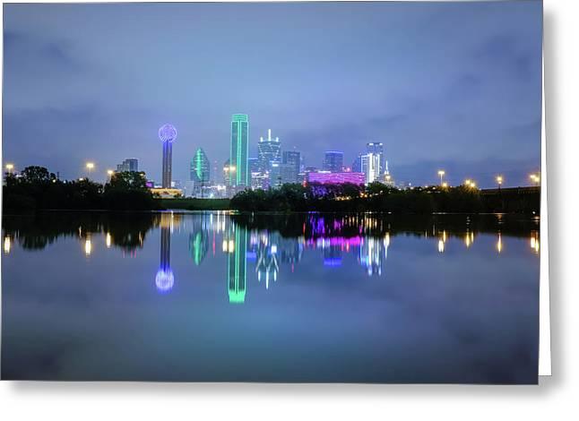 Dallas Cityscape Reflection Greeting Card