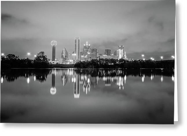 Dallas Cityscape Reflections Black And White Greeting Card