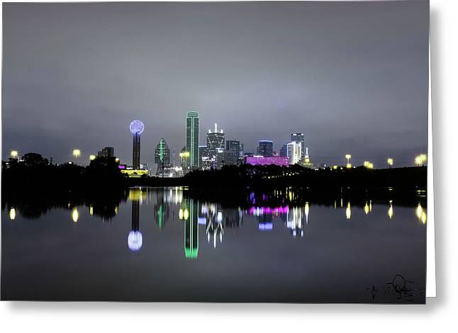 Dallas Texas Cityscape River Reflection Greeting Card
