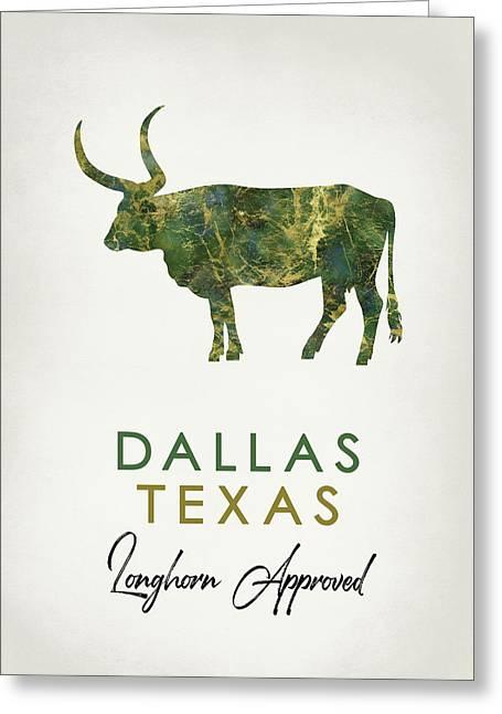 Dallas Texas Dark Marble Greeting Card