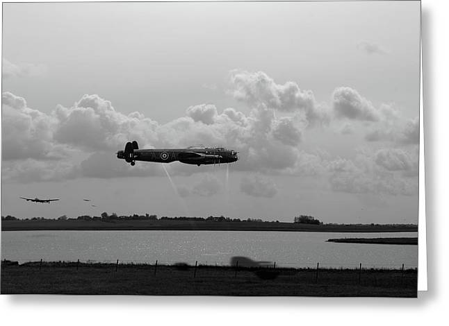 Greeting Card featuring the photograph Dambusters Lancasters At Abberton Bw Version by Gary Eason