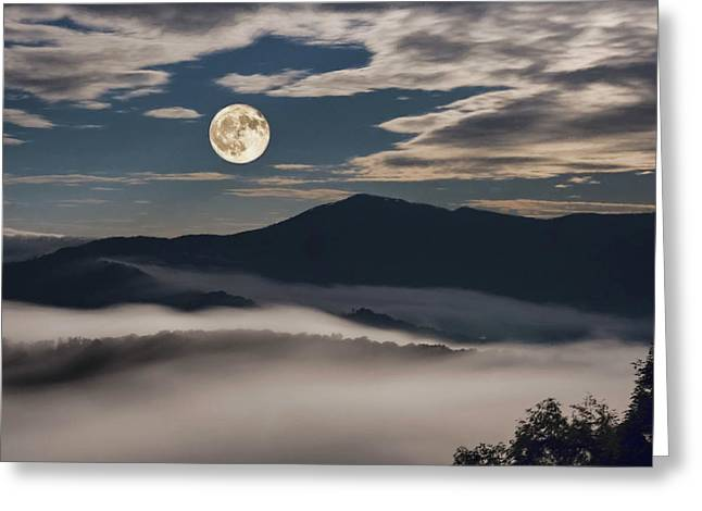 Dance Of Clouds And Moon Greeting Card
