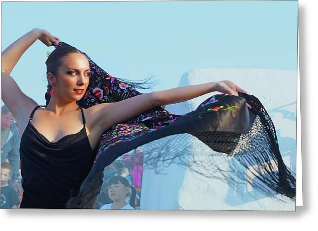 Dancer With Shawl Greeting Card by Digby Merry
