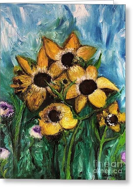 Greeting Card featuring the painting Dancing Flowers by Laurie Lundquist