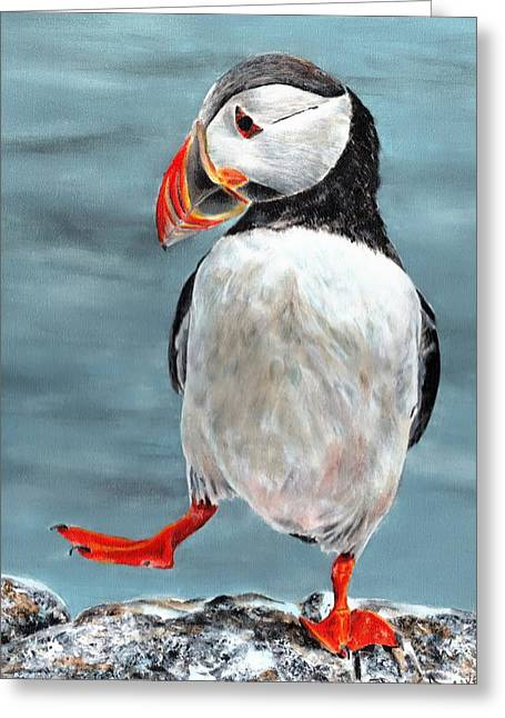 Dancing Puffin Greeting Card