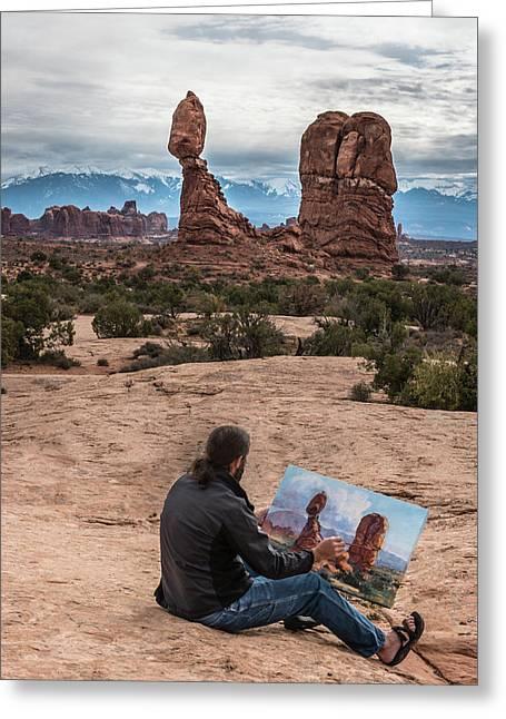 Daniel Paints Balanced Rock Greeting Card