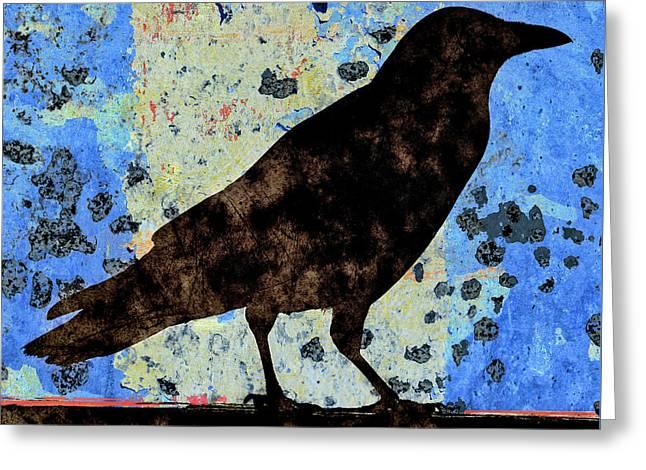 Dappled Crow On Blue Greeting Card