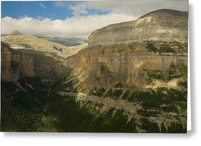 Greeting Card featuring the photograph Dappled Light In The Ordesa Valley by Stephen Taylor