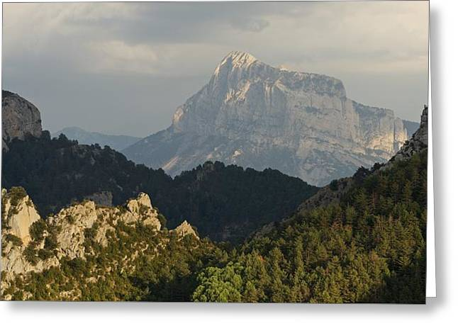 Greeting Card featuring the photograph Dappled Light On Pena Montanesa by Stephen Taylor