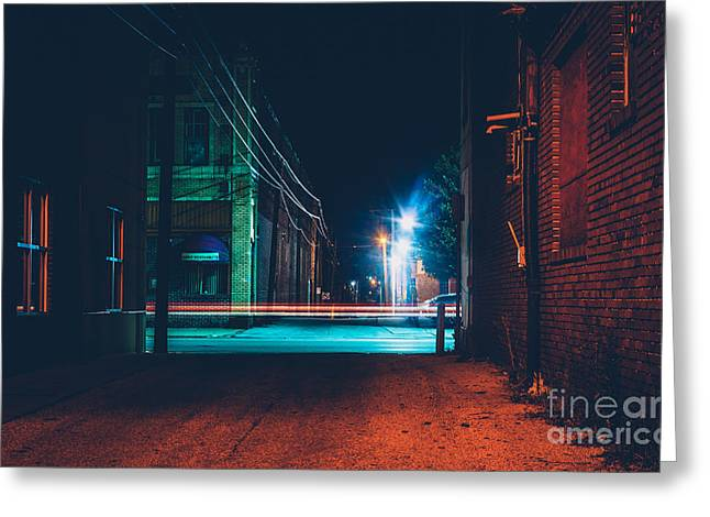 Dark Alley And Light Trails In Hanover Greeting Card