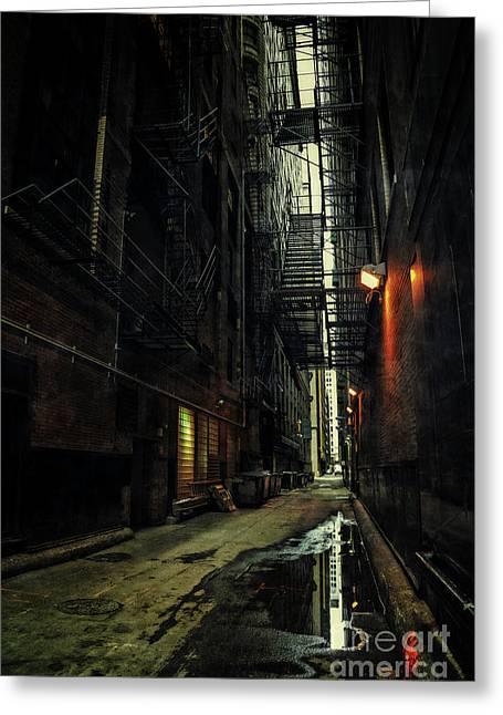 Dark Chicago Alley Greeting Card