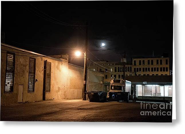 Dark Chicago City Alley At Night With The Moon Greeting Card