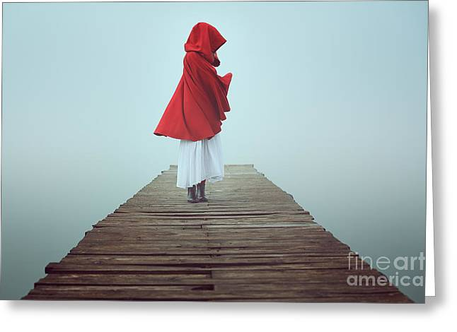 Dark Little Red Riding Hood In The Mist Greeting Card