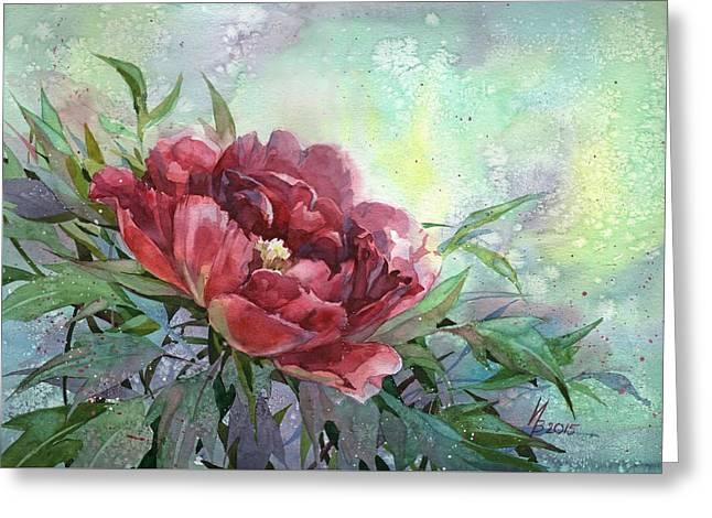 Dark Red Peony Flower Greeting Card