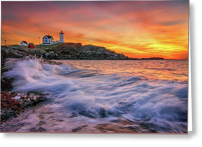 Dawn At Cape Neddick Lighthouse Greeting Card