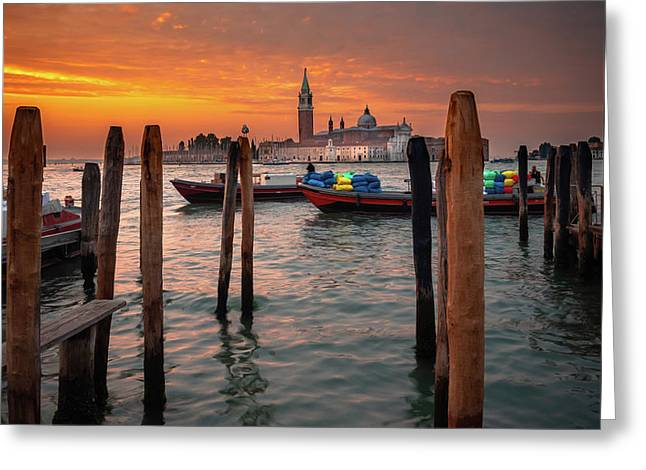 Greeting Card featuring the photograph Dawn Deliveries...venice.    by Tim Bryan