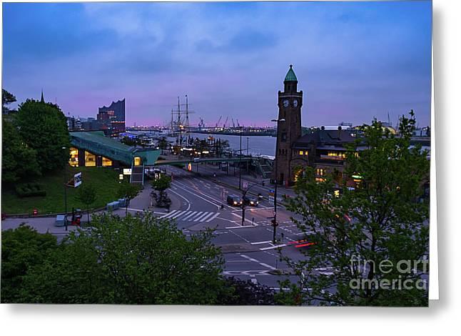 Dawn Over The Port And City Hamburg Panorama Greeting Card