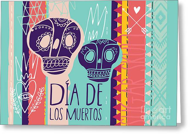 Day Of The Dead Colorful Card. Skull Greeting Card