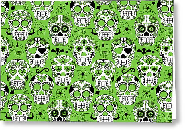Day Of The Dead Sugar Skull Seamless Greeting Card