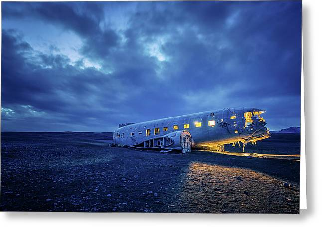 Greeting Card featuring the photograph Dc-3 Plane Wreck Illuminated Night Iceland by Nathan Bush
