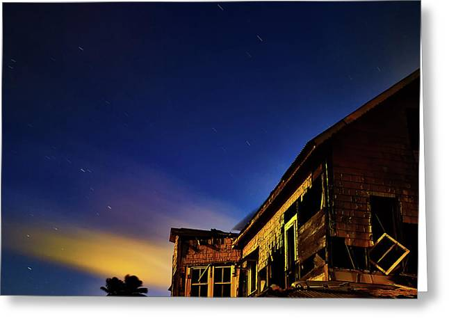 Decaying House In The Moonlight Greeting Card