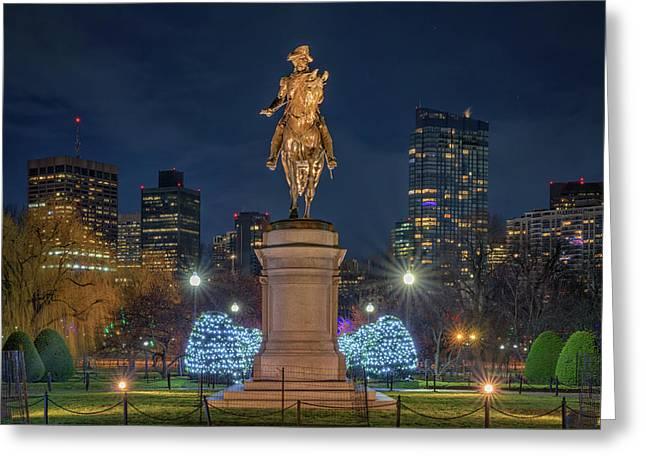 December Evening In Boston's Public Garden Greeting Card