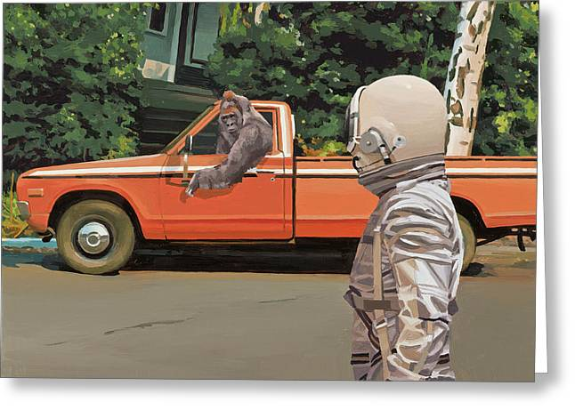 Greeting Card featuring the painting Decline Of The Planet Of The Apes by Scott Listfield