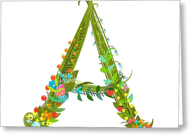 Decorative Botanical Elegant Alphabet Greeting Card by Popmarleo