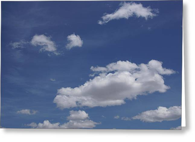 Deep Blue Sky And Fluffy Cumulous Cloud Greeting Card