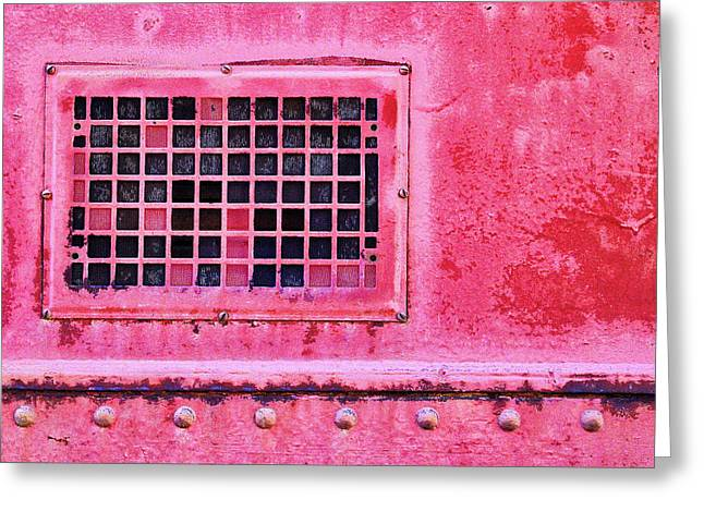 Deep Pink Train Engine Vent Greeting Card