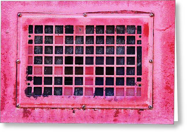 Deep Pink Train Engine Vent Square Format Greeting Card