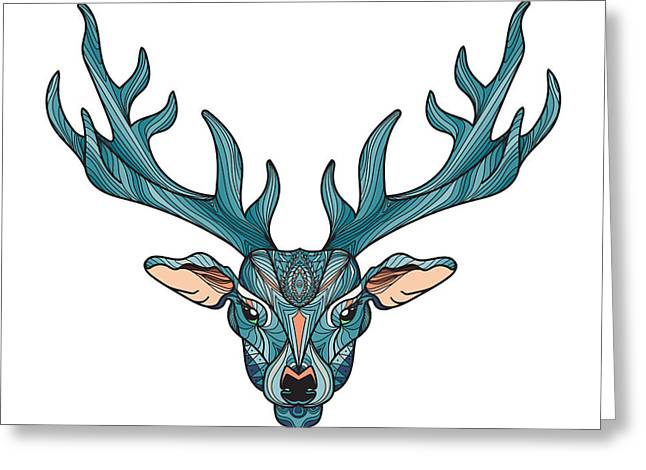 Deer Bright Colorful Head With Horns Greeting Card