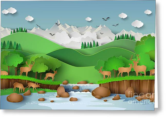 Deer In The Forest With A Greeting Card