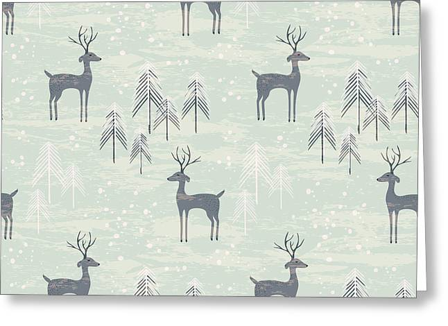 Deer In Winter Pine Forest. Seamless Greeting Card
