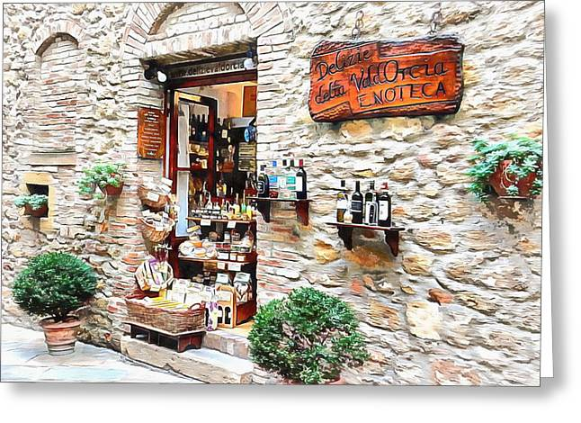Greeting Card featuring the photograph Delicatessen Pienza Tuscany by Dorothy Berry-Lound