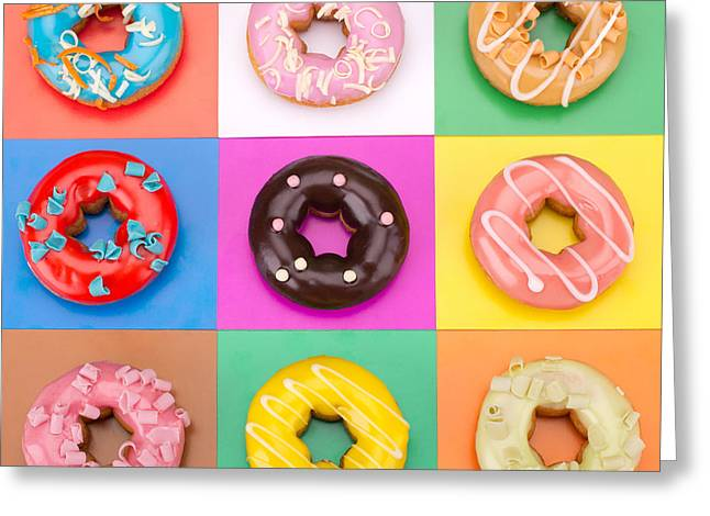 Delicious Donuts Isolated On Colorful Greeting Card