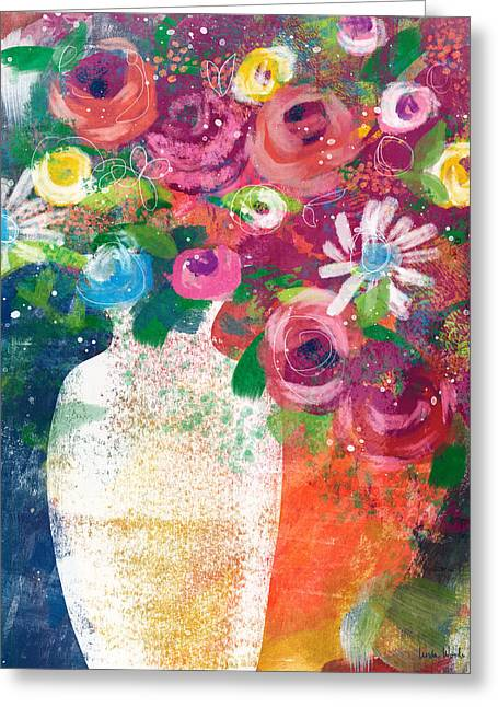 Delightful Bouquet 2- Art By Linda Woods Greeting Card