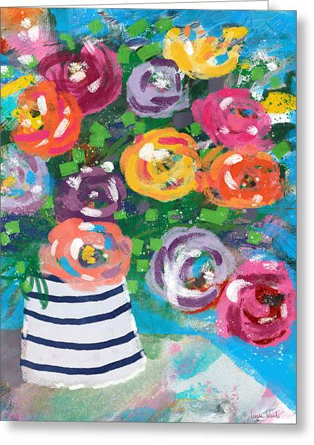 Delightful Bouquet 6- Art By Linda Woods Greeting Card