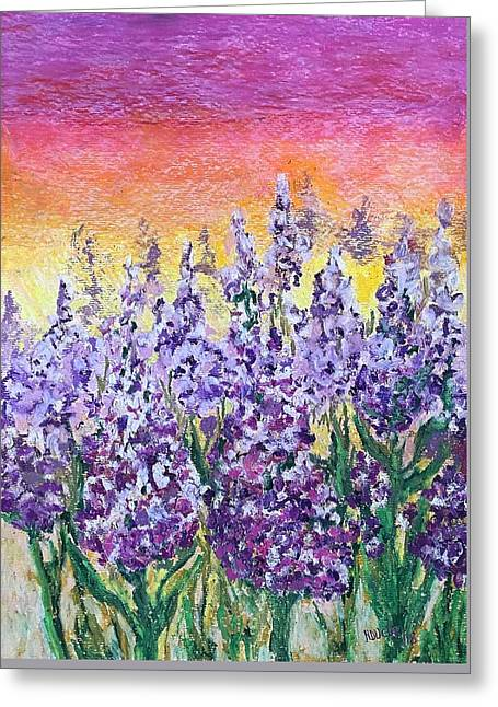 Greeting Card featuring the painting Delphiniums by Norma Duch