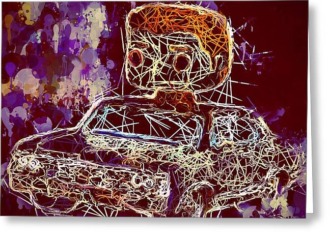 Greeting Card featuring the mixed media Dean Winchester Car Supernatural Pop  by Al Matra
