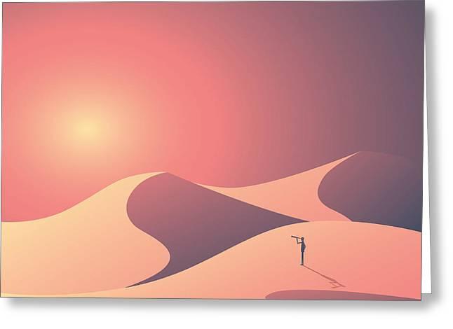 Desert Landscape Vector Background Greeting Card