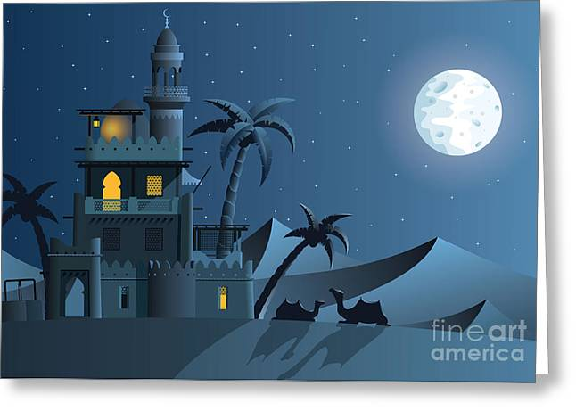 Desert Oasis In The Night Greeting Card