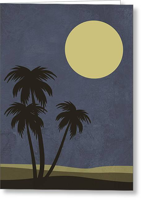 Desert Palm Trees And Yellow Moon Greeting Card