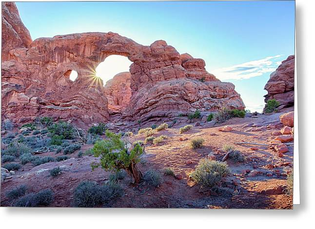 Desert Sunset Arches National Park Greeting Card