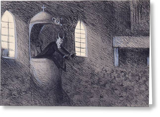 Greeting Card featuring the drawing Devil  by Ivar Arosenius