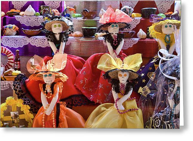 Greeting Card featuring the photograph Dia De Los Muertos Candy Catrinas by Tatiana Travelways