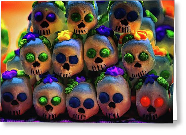Greeting Card featuring the photograph Dia De Los Muertos Candy Skulls 2 by Tatiana Travelways