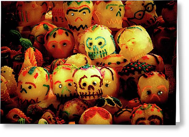 Greeting Card featuring the photograph Dia De Los Muertos Candy Skulls by Tatiana Travelways