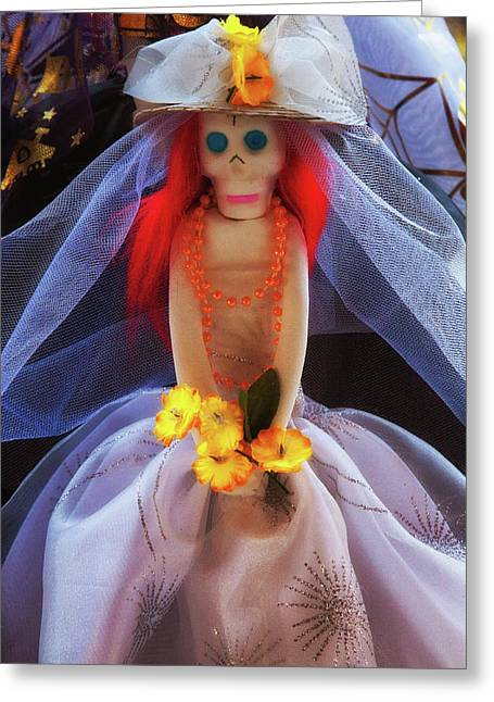 Greeting Card featuring the photograph Dia De Los Muertos Spooky Candy Catrina by Tatiana Travelways